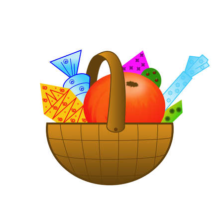 deliciously: small basket with gifts on a white background, illustration