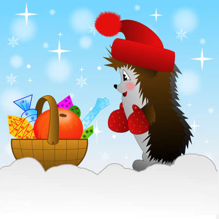 deliciously: hedgehog and small basket with gifts  on to snow, illustration