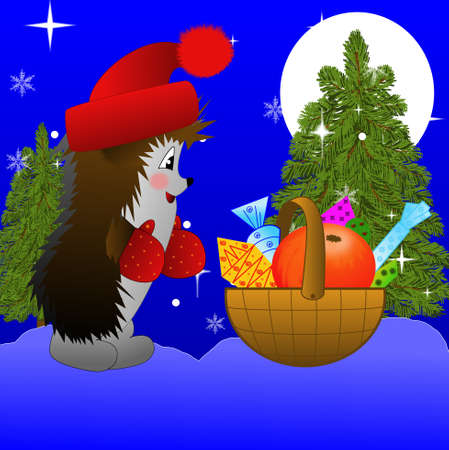 hedgehog and small basket with gifts  on to snow, illustration illustration