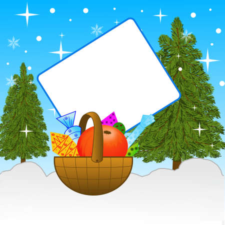 infield: small basket with gifts with the clean sheet of paper on to snow in-field, illustration
