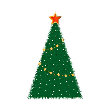 good-looking festive fir-tree on a white background, vector illustration Vector