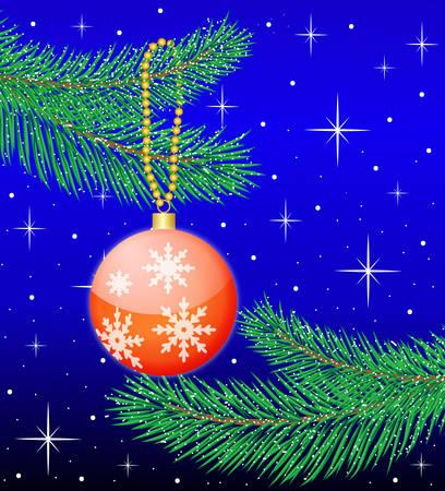 toy a ball hangs on branch fir-tree, vector illustration Vector