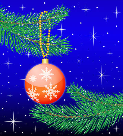 hangs: toy a ball hangs on branch fir-tree, vector illustration