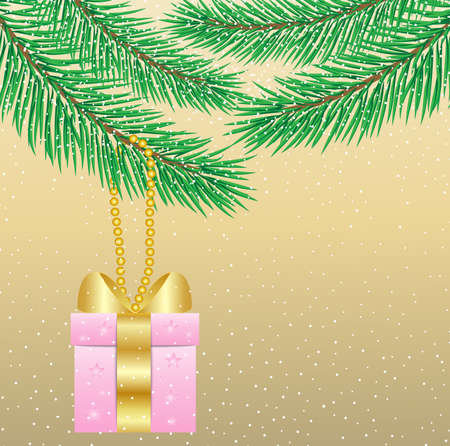 gift hang on branch fir-tree, vector illustration Vector