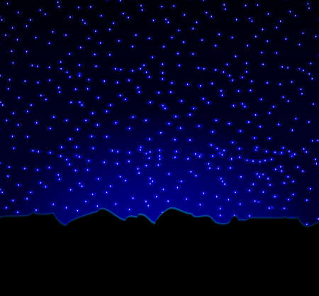 night star sky and mountains,, vector illustration Vector
