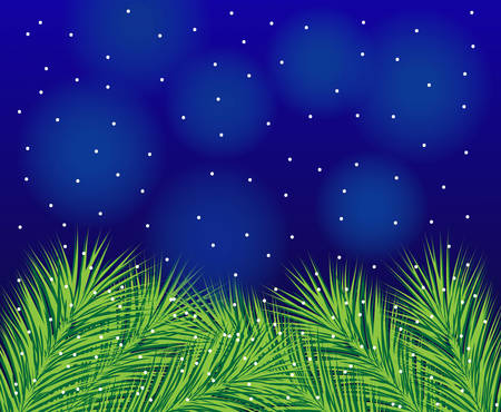 beautiful festive background with spruce branches,  vector  illustration Vector