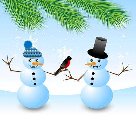 two snow men with a bird bullfinch,vector illustration Vector