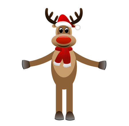 newyear: amusing funny deer in a new-year cap on a white background,  vector  illustration