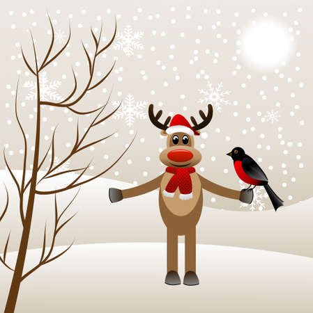 winter landscape with deer and bird bullfinch, vector illustration Vector