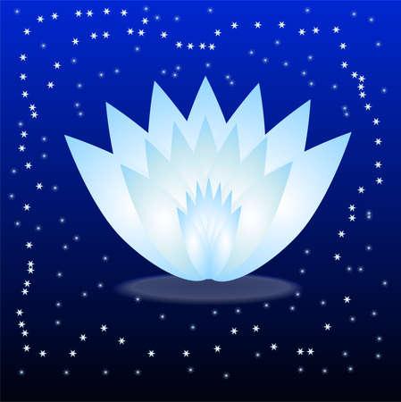 gently blue: gently blue flower on a dark blue background,vector illustration Illustration