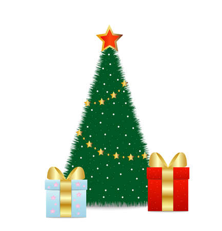 two boxes with gifts stand near fir-tree, vector illustration Vector