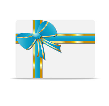 greeting-card with  a blue bow and  mestome for text,  vector  illustration Vector