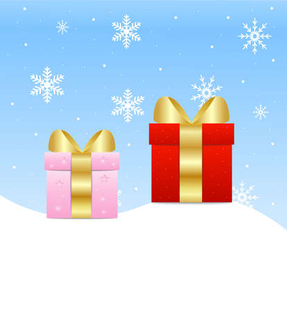 two boxes with gifts stand on snow, vector illustration Vector