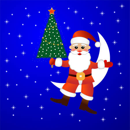 Santa claus sits on a moon with a fir-tree in hands,  vector  illustration Vector