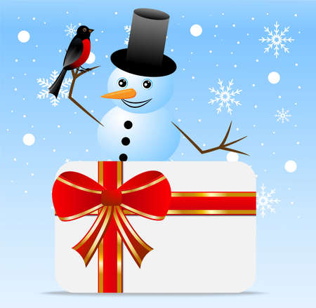 greetingcard: snow man with a bird bullfinch and greeting-card,  vector  illustration