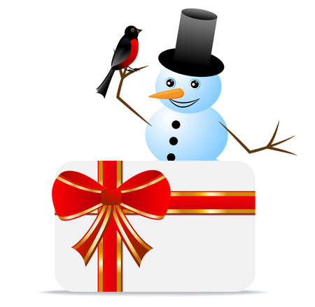 snow man with a bird bullfinch and greeting-card,  vector  illustration Vector