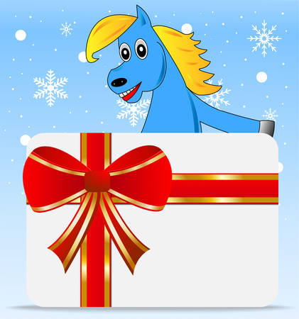 greetingcard: blue horse and greeting-card,vector illustration Illustration