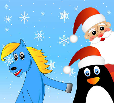 coldly: blue horse, Santa claus and penguin,vector illustration Illustration