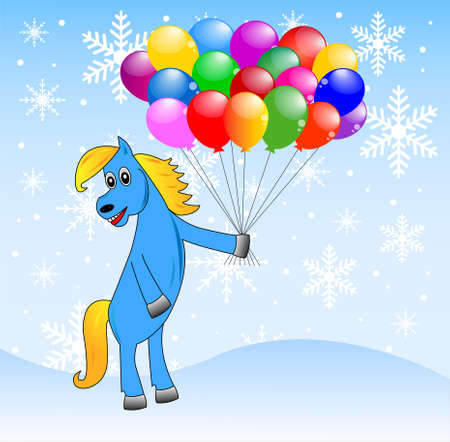 coldly: blue horse with inflatable marbles,vector illustration