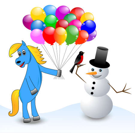 coldly: blue horse and snow man,vector illustration
