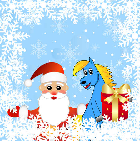blue horse and Santa claus,vector illustration Vector