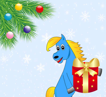 coldly: blue horse with a gift,vector illustration
