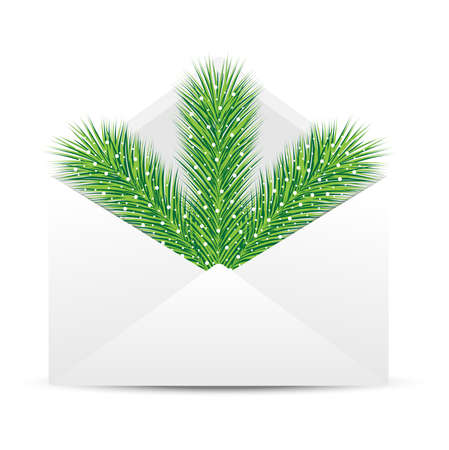 coldly: open envelope with the branch of silver fir on a white background, a vector is illustration