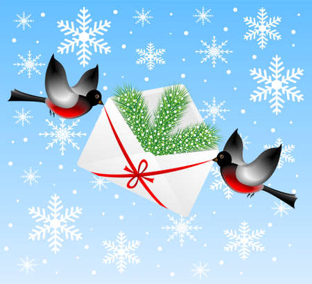 coldly: birds bullfinchs carry an envelope with a silver fir branch,vector illustration