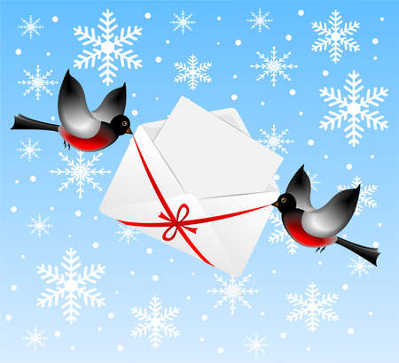 coldly: birds bullfinchs carry an envelope with congratulation,vector illustration