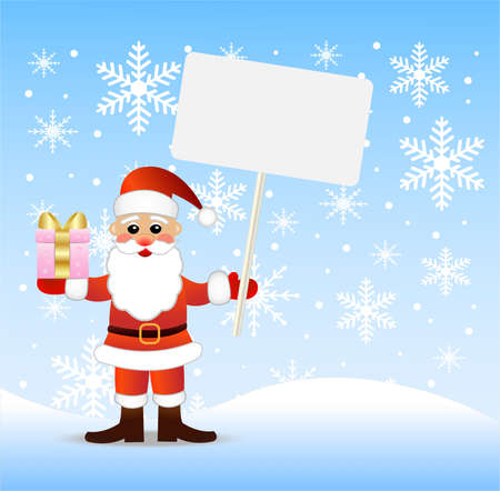 coldly: Santa claus with a gift and banner in hands,vector illustration