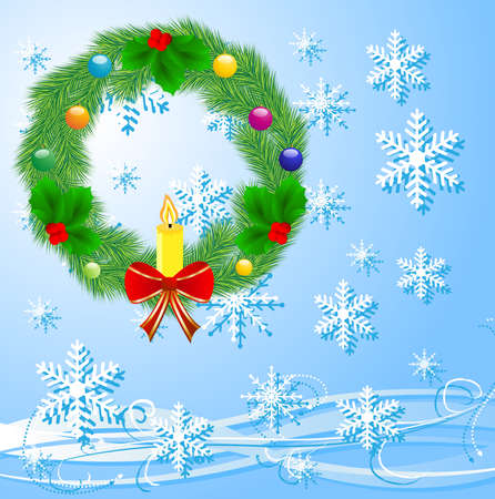 chaplet: festive christmas background with a chaplet from a silver fir,  vector  illustration
