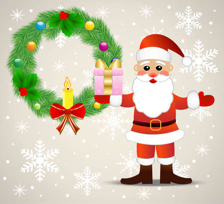 chaplet: festive christmas background with Santa claus and chaplet from a silver fir,  vector  illustration Illustration