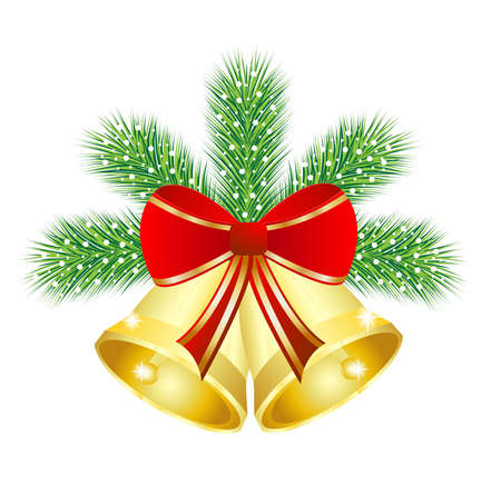 festive christmas background with the branches of silver fir and campanellis,vector illustration Vector