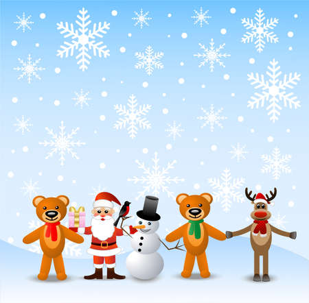 coldly: Santa claus, snow man and beasts, stand on to snow,vector illustration