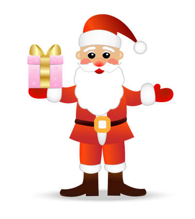 coldly: Santa claus with a gift on a white background,  vector  illustration Illustration