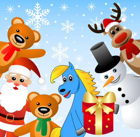 coldly: Santa claus, snow man and beasts ,vector illustration