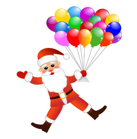 coldly: Santa claus with air marbles on a white background,  vector  illustration