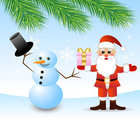 coldly: Santa claus and snow man, vector illustration