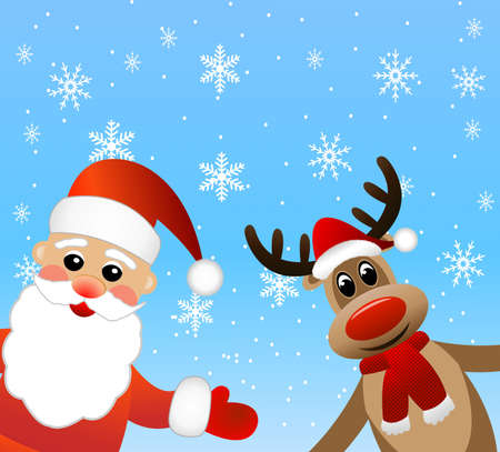 coldly: Santa claus and deer,  vector  illustration