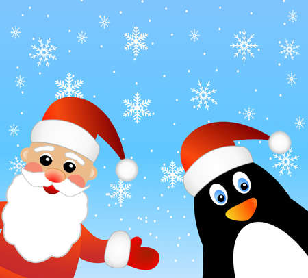 Santa claus and penguin,  vector  illustration Vector