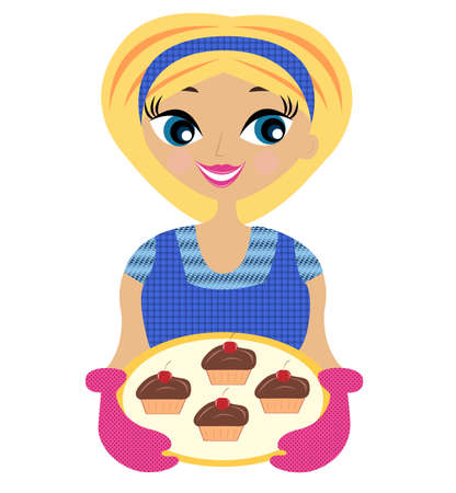 co operating: young woman prepares a delicious dessert,  vector  illustration