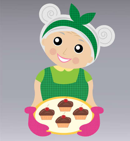 do cooking: a merry grandmother prepares a delicious dessert,  vector  illustration