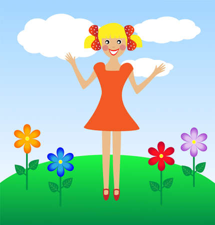merry  girl in summer on lawn, vector illustration Vector