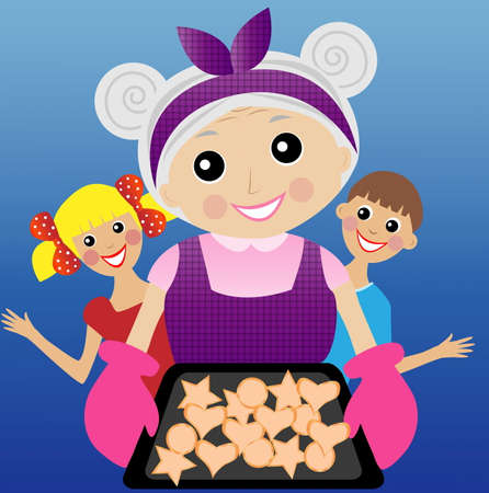 do cooking: a merry grandmother prepares a delicious dessert for grandchildren,  vector  illustration Illustration