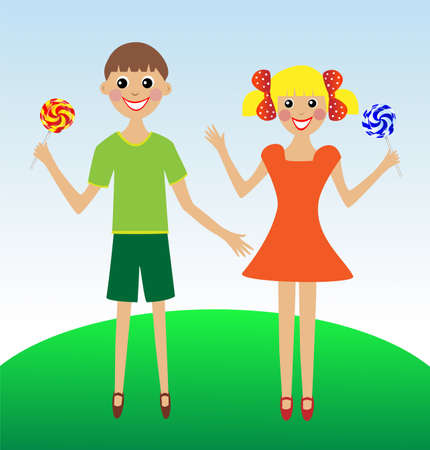 excitation: merry  girl and boy in summer on lawn with lollipop, vector illustration