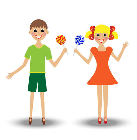 excitation: merry  girl and boy  with lollipop, vector illustration