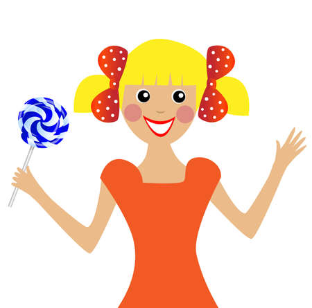 excitation: merry  girl  with lollipop in hand, vector illustration