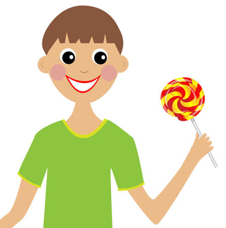 excitation: merry boy  with lollipop in hand, vector illustration Illustration