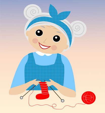 forefather: a merry grandmother binds socks,vector illustration Illustration