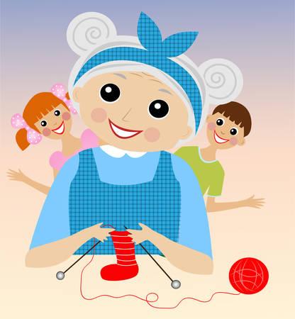 forefather: a merry grandmother binds socks for grandchildren,  vector  illustration
